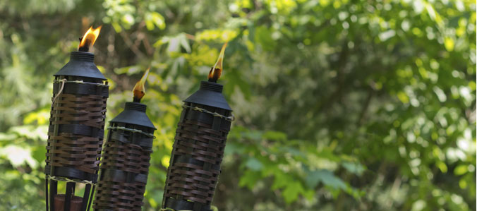 3 tiki torches for mosquito and pest control