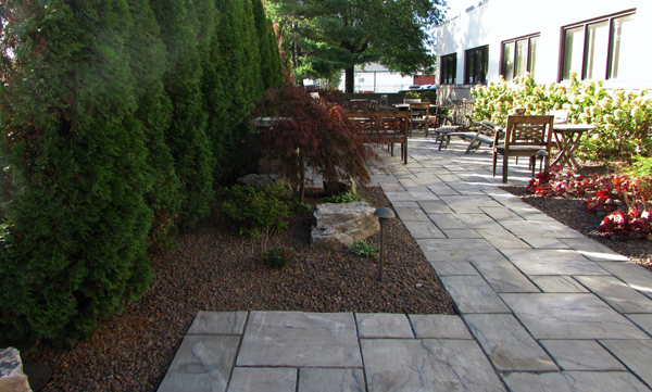 commercial landscaping large stone walkway