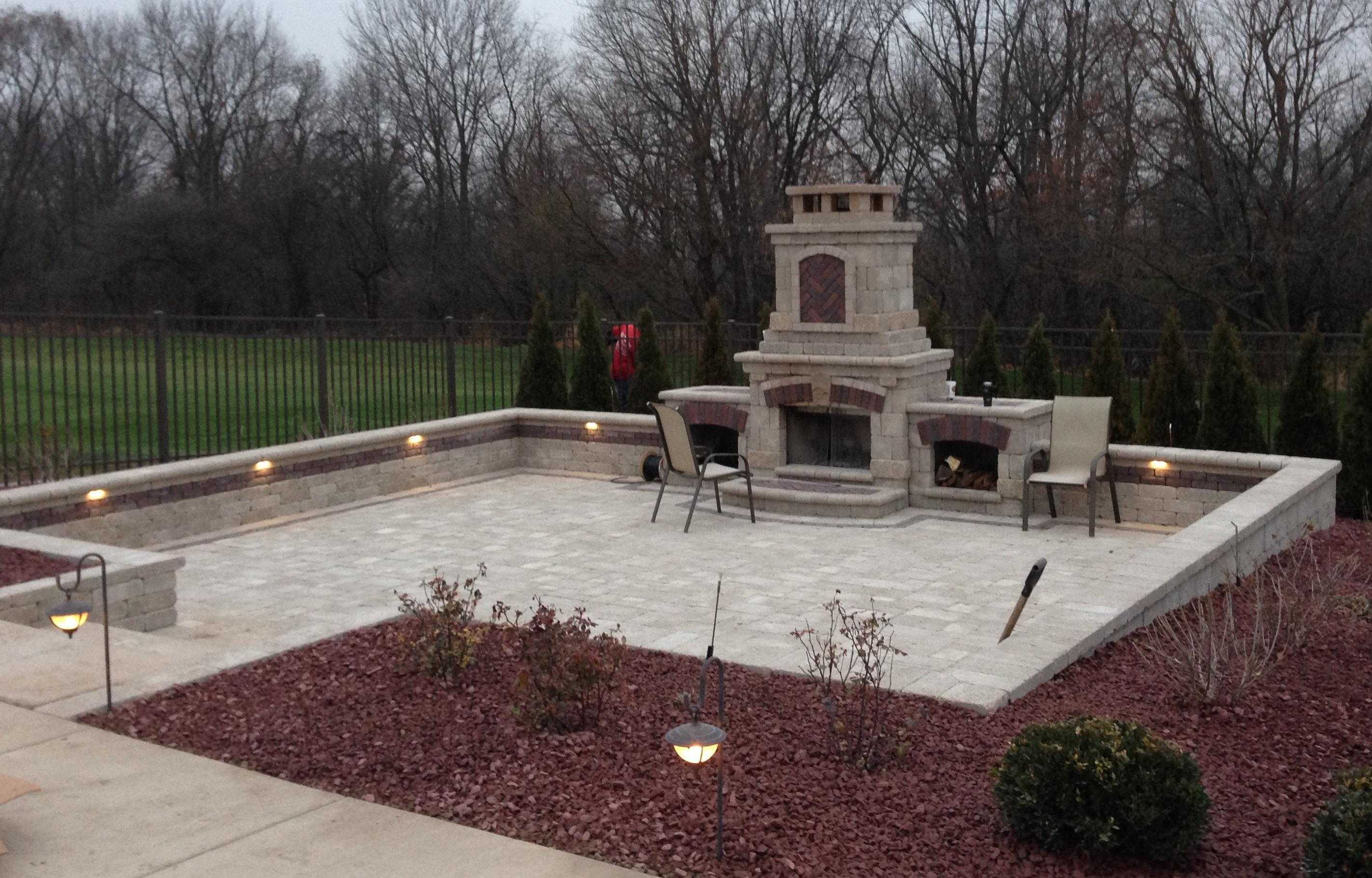 Fireplace patio with lighting